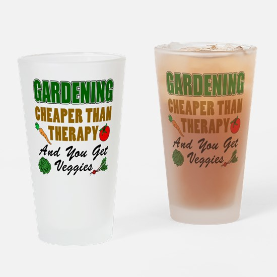Gardening Cheaper Than Therapy Drinking Glass