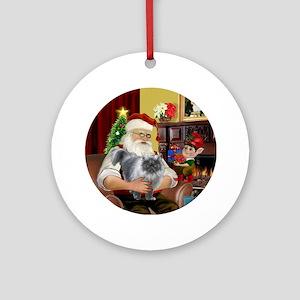 Santa's Silver Persian cat (gry) Ornament (Round)