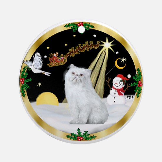 Wreath (G) - Persian cat (W) Ornament (Round)