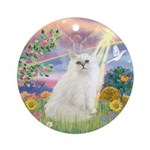 Cloud Angel & Persian cat #1 (W) Ornament (Round)
