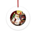 Santa's Persian cat #1 (W) Ornament (Round)