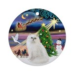 Xmas Magic & Persian cat (W) Ornament (Round)