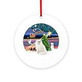 White persian cats Round Ornaments