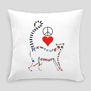 Lemur Typography Everyday Pillow