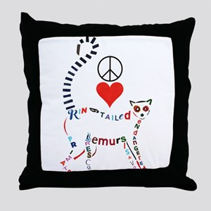 Lemur Typography Throw Pillow