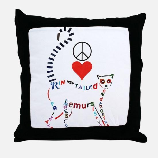 Lemur Typography Throw Pillow