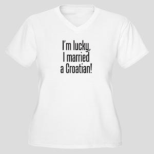 Married a Croatian Women's Plus Size V-Neck T-Shir