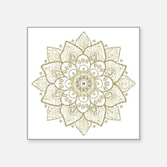 """Cute Gold Square Sticker 3"""" x 3"""""""
