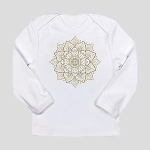 f2f2a7ce Gold Glitter Floral Mandala De Long Sleeve T-Shirt