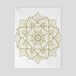 Gold Glitter Floral Mandala Design Twin Duvet