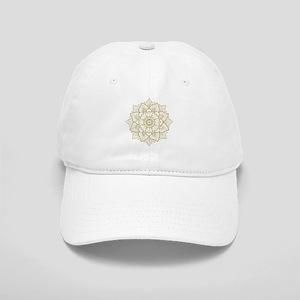 Gold Glitter Floral Mandala Design Cap