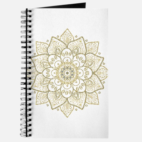 Gold Glitter Floral Mandala Design Journal