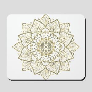 Gold Glitter Floral Mandala Design Mousepad