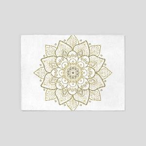 Gold Glitter Floral Mandala Design 5'x7'Area Rug