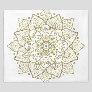 Gold Glitter Floral Mandala Design King Duvet