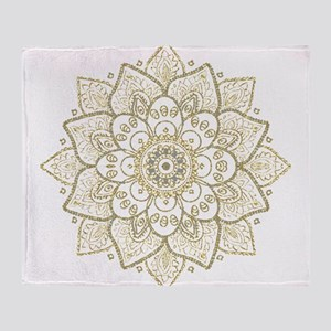 Gold Glitter Floral Mandala Design Throw Blanket