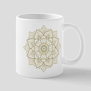 Gold Glitter Floral Mandala Design Mugs