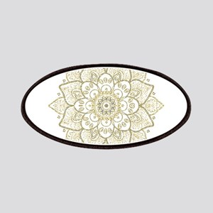 Gold Glitter Floral Mandala Design Patch