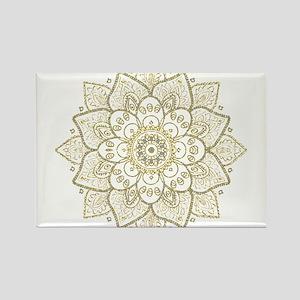 Gold Glitter Floral Mandala Design Magnets