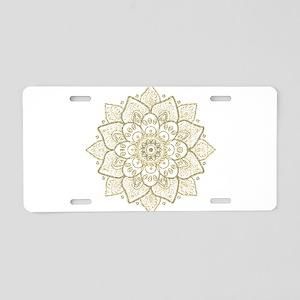 Gold Glitter Floral Mandala Aluminum License Plate