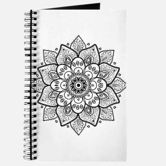 Black Ornate Floral Mandala geometric Desi Journal