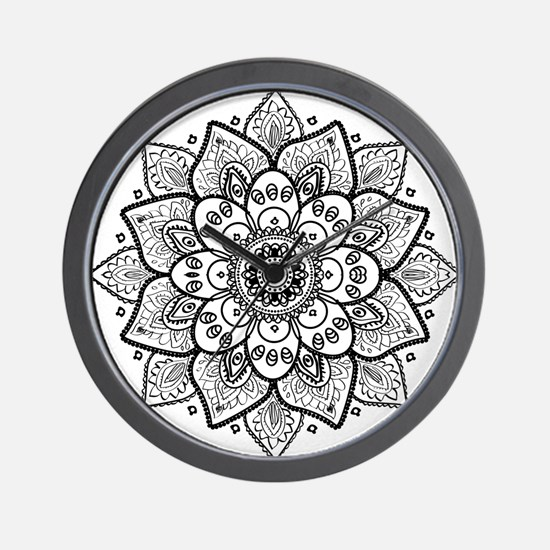 Black Ornate Floral Mandala geometric D Wall Clock