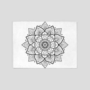 Black Ornate Floral Mandala geometr 5'x7'Area Rug