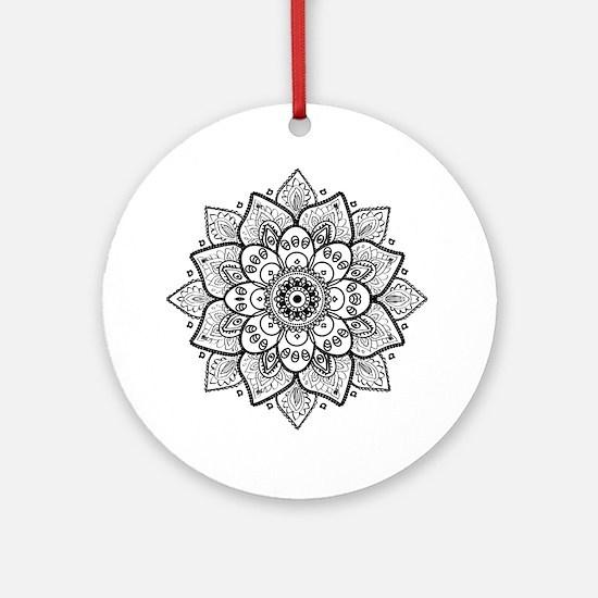 Black Ornate Floral Mandala geometr Round Ornament