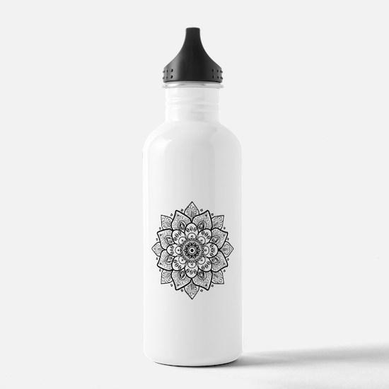 Black Ornate Floral Ma Water Bottle
