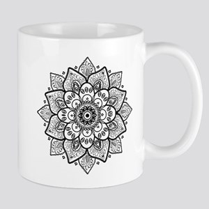 Black Ornate Floral Mandala geometric Design Mugs