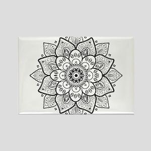 Black Ornate Floral Mandala geometric Desi Magnets