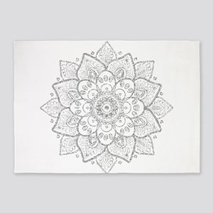 White Glitter Floral Mandala 5'x7'Area Rug