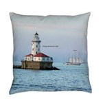 Chicago Breakwater Light And Boat Everyday Pillow