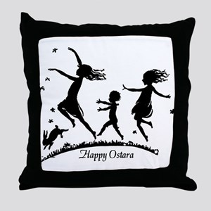 Happy Ostara Dance Throw Pillow