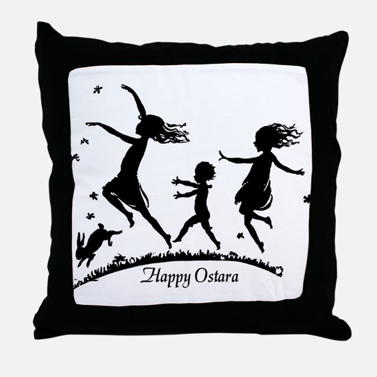 Happy Ostara Dance Throw Pillow
