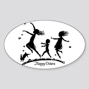 Happy Ostara Dance Oval Sticker
