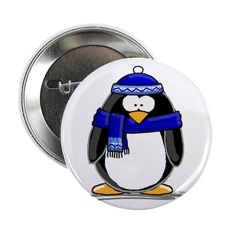 "Blue Scarf Penguin 2.25"" Button"