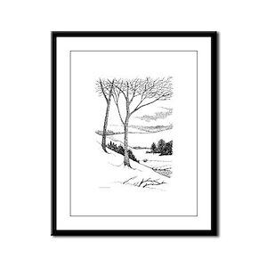 Winter Hillside Framed Panel Print