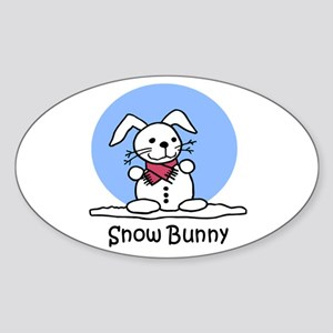Snow Bunny Oval Sticker