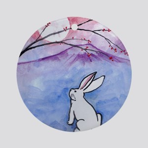Moon Bunny Round Ornament