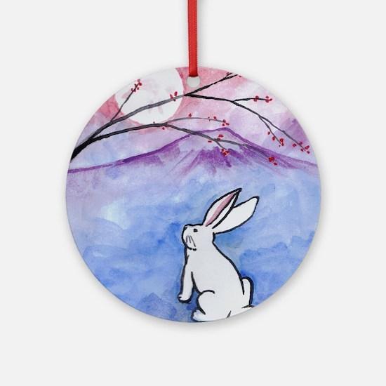 Moon Bunny Round Ornament