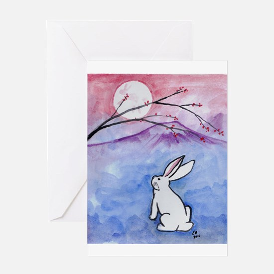 Moon Bunny Greeting Cards