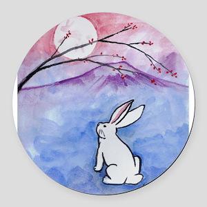 Moon Bunny Round Car Magnet