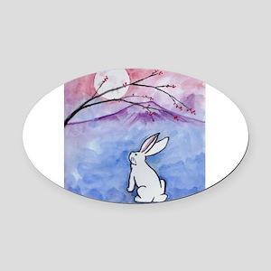 Moon Bunny Oval Car Magnet