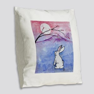 Moon Bunny Burlap Throw Pillow
