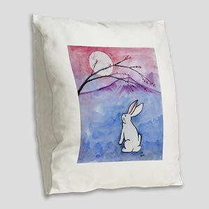 Moon Bunny Burlap Throw Pillow