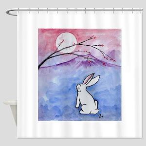 Moon Bunny Shower Curtain
