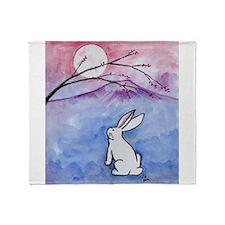 Moon Bunny Throw Blanket