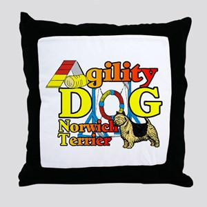 Norwich Terrier Agility Throw Pillow