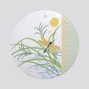 Dragonfly in Rice Field Ornament (Round)
